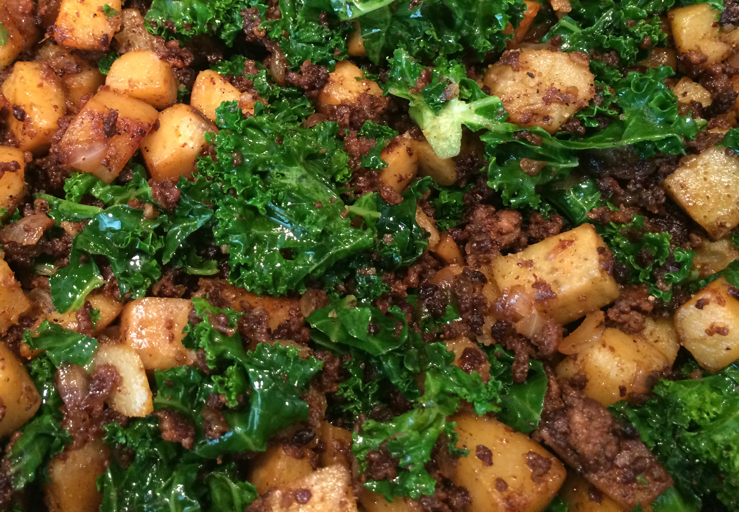 Chorizo, Japanese sweet potato and kale hash